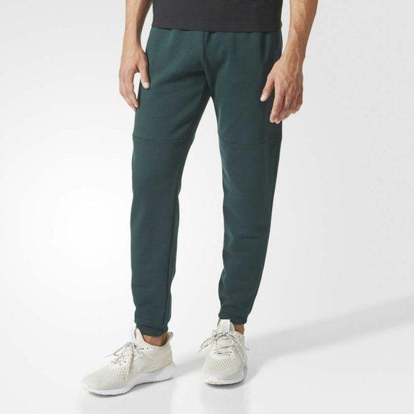 ADIDAS BQ9562 Tapered Leg FLEECE Pants Green Night